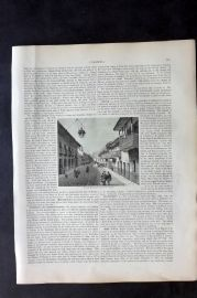 Blackie 1882 Antique Print. Calle Real the Principal Street in Bogota, Colombia